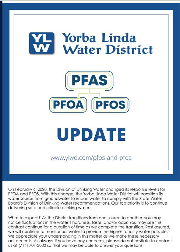 Yorba Linda Water District Notice